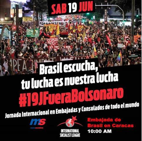El ForaBolsonaro mañana sábado 19J también se sentirá en Caracas